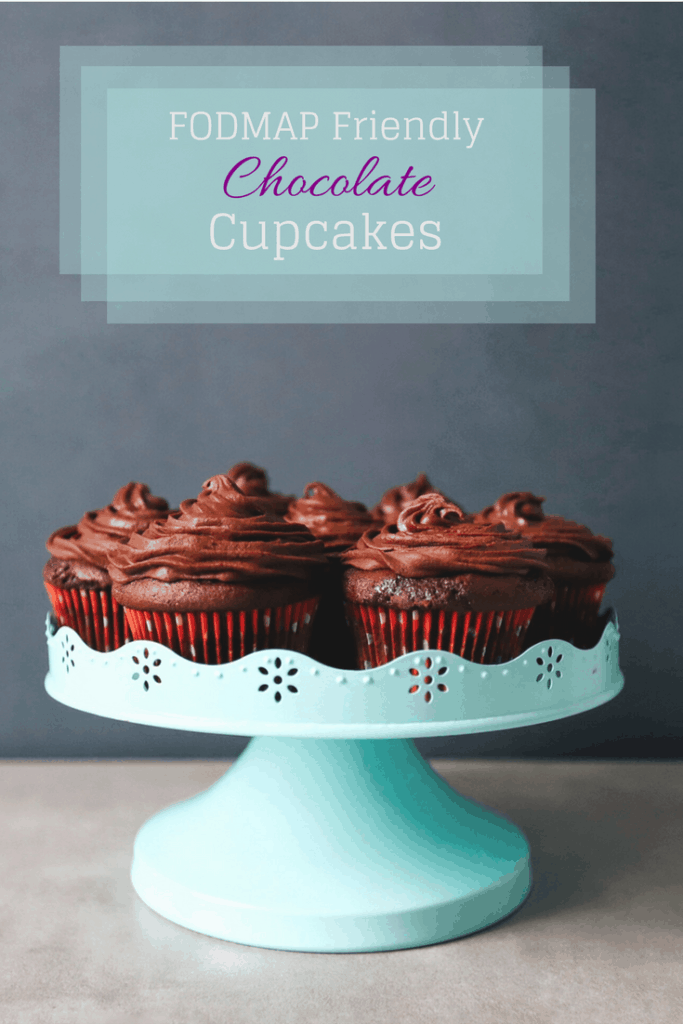 FODMAP friendly chocolate cupcakes with ganesh icing with text overlay: FODMAP friendly chocolate cupcakes