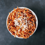 Low FODMAP Spicy Pasta Sauce with spaghetti in bowl