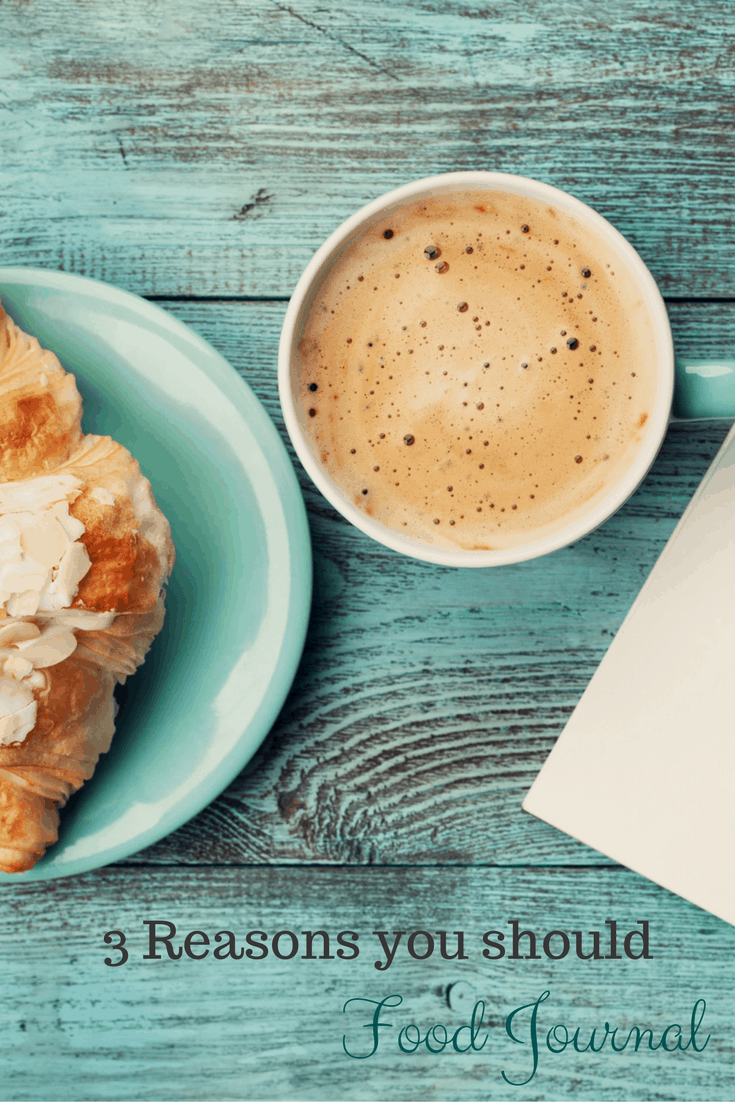 coffee and croissant on table with text overlay: 3 reasons to keep a food journal