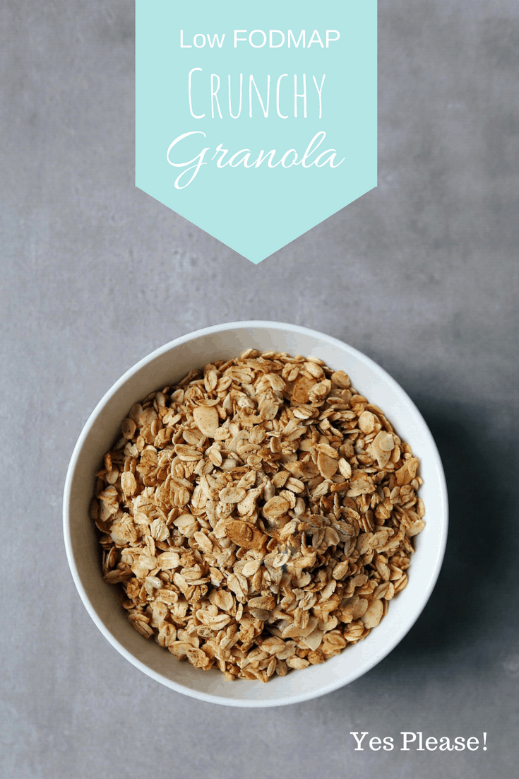Low FODMAP Crunchy Granola in bowl with text overlay: Low FODMAP Granola, yes please