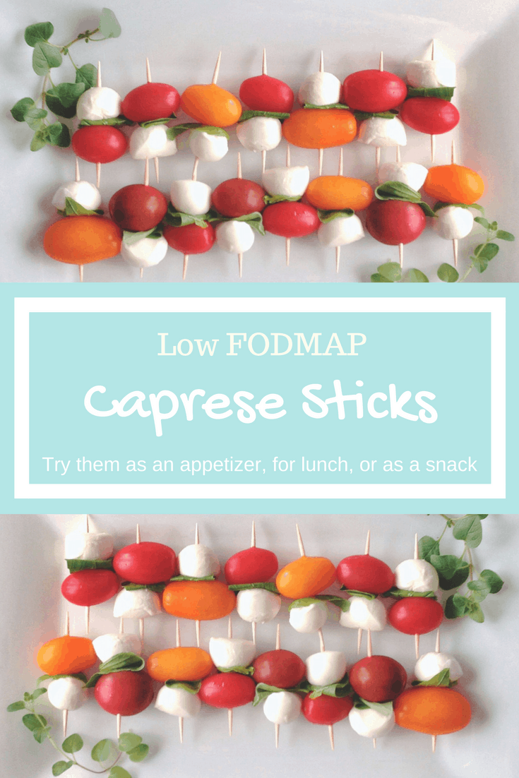 Low FODMAP Caprese Sticks on plate with text overlay: Low FODMAP Caprese Sticks, try them as an appetizer, for lunch, or a healthy snack