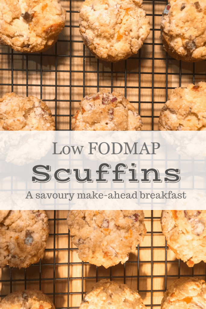 Low FODMAP bacon and cheddar scuffins on wire rack