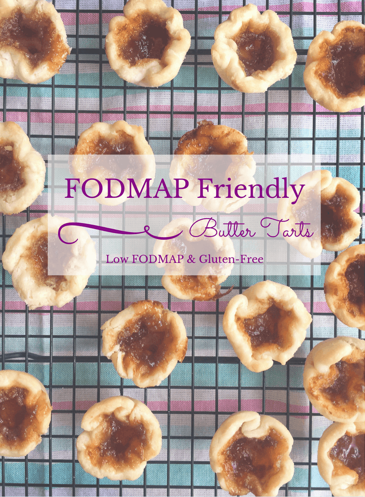 Low FODMAP Butter Tarts on wire rack with text overlay saying same