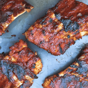 Low FODMAP BBQ ribs on baking sheet