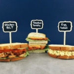 Low FODMAP Sandwich Ideas Left to right: low FODMAP BLT with chicken, low FODMAP toasted tomato, low FODMAP egg salad