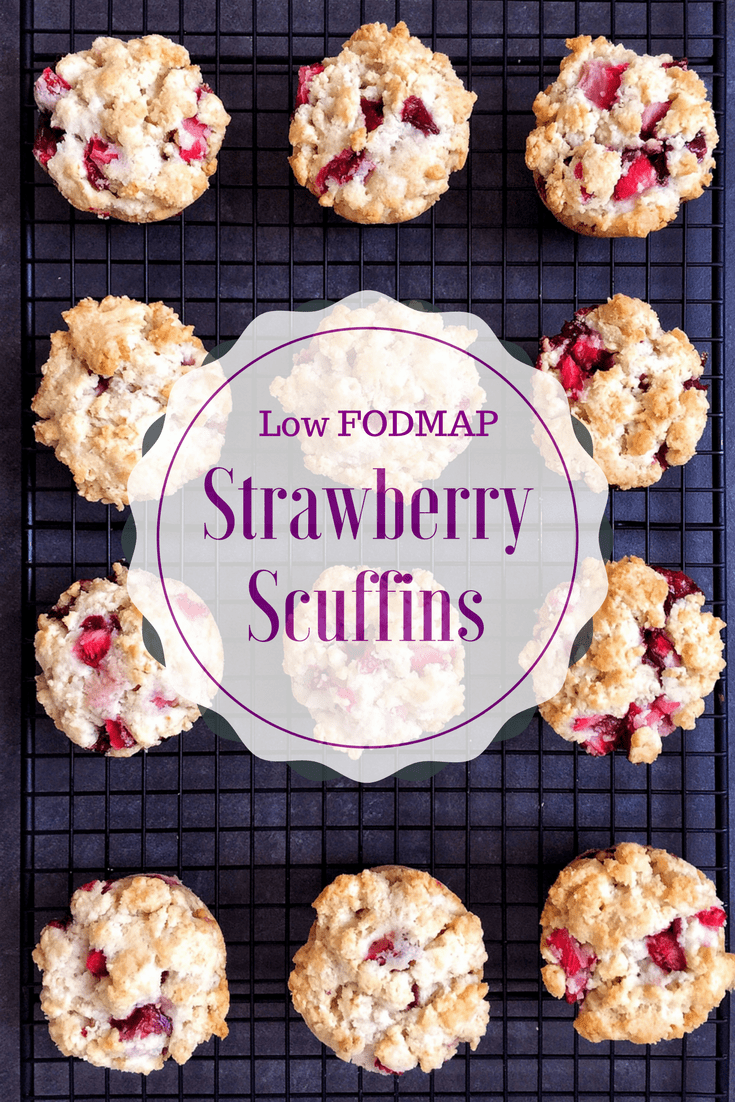 low FODMAP strawberry scuffins on wire rack with text overlay: Low FODMAP strawberry scuffins
