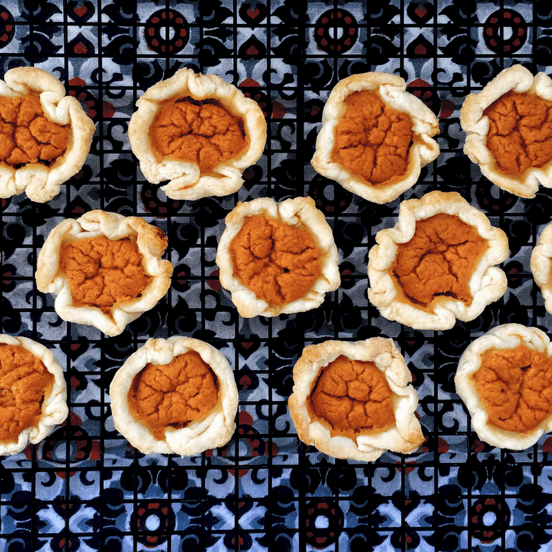 Low FODMAP Pumpkin Tarts on wire rack