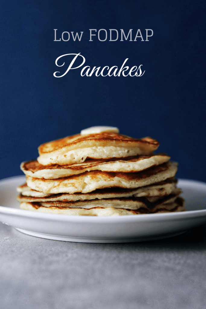 Low FODMAP pancakes stacked on a plate.