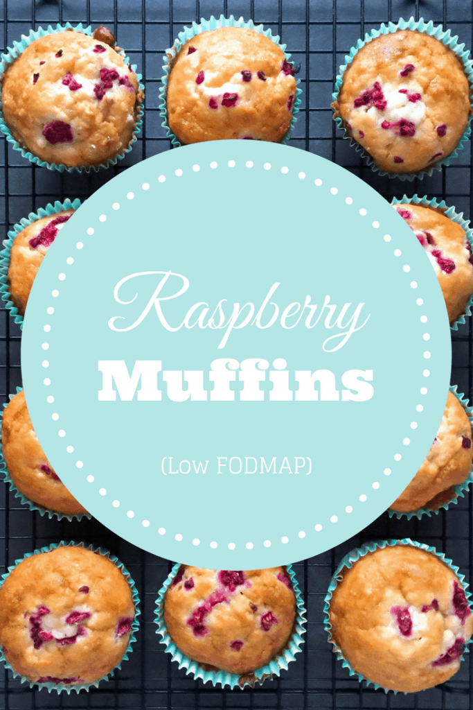 low FODMAP raspberry muffins on wire rack with text overlay saying same