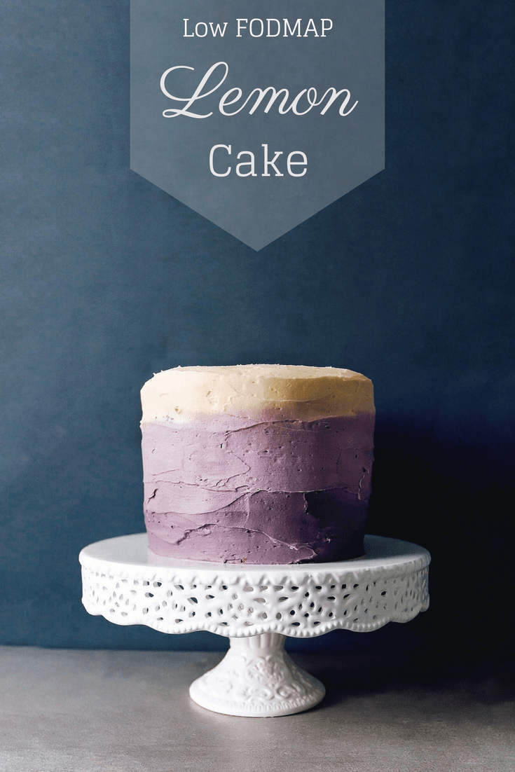 Low FODMAP Lemon Cake on cake stand with test overlay: Low FODMAP Lemon Cake