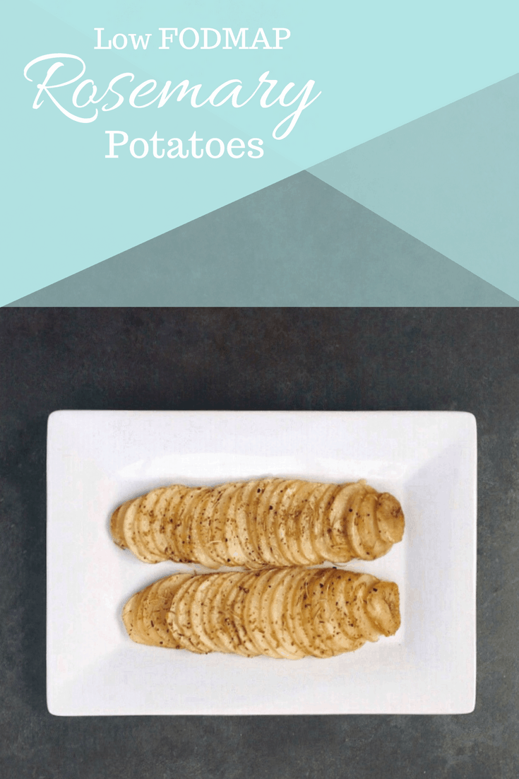 Low FODMAP Rosemary Potatoes on Plate with text overlay: Low FODMAP Rosemary Potatoes
