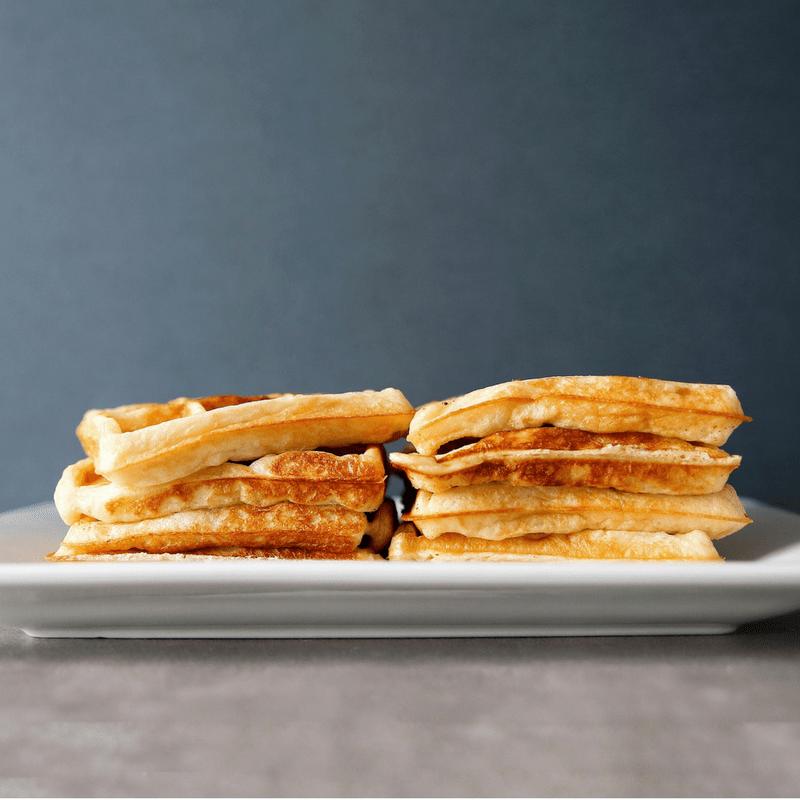 Low FODMAP Sourdough Waffles on plate.