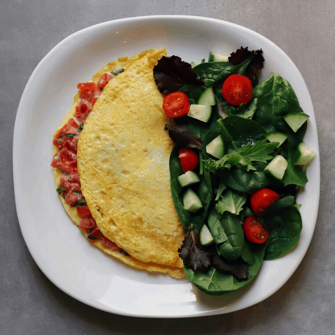 Low FODMAP Bruschetta Omelet with side salad