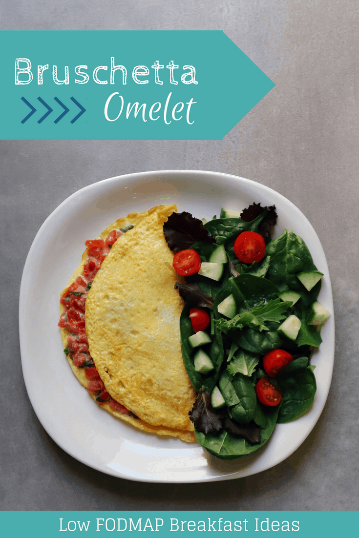 Low FODMAP Bruschetta Omelet with text overlay saying same