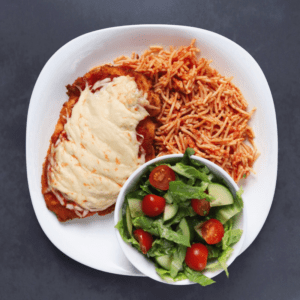 Low FODMAP Chicken Parmesan with side salad