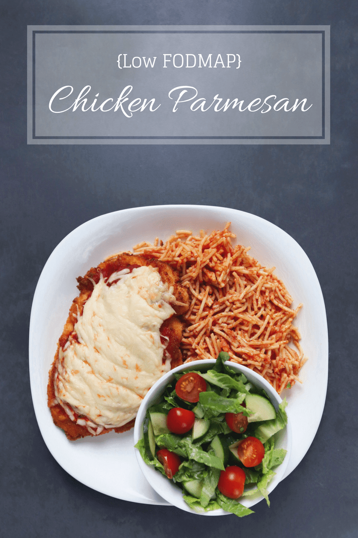 Low FODMAP Chicken Parmesan on plate with text overlay saying same