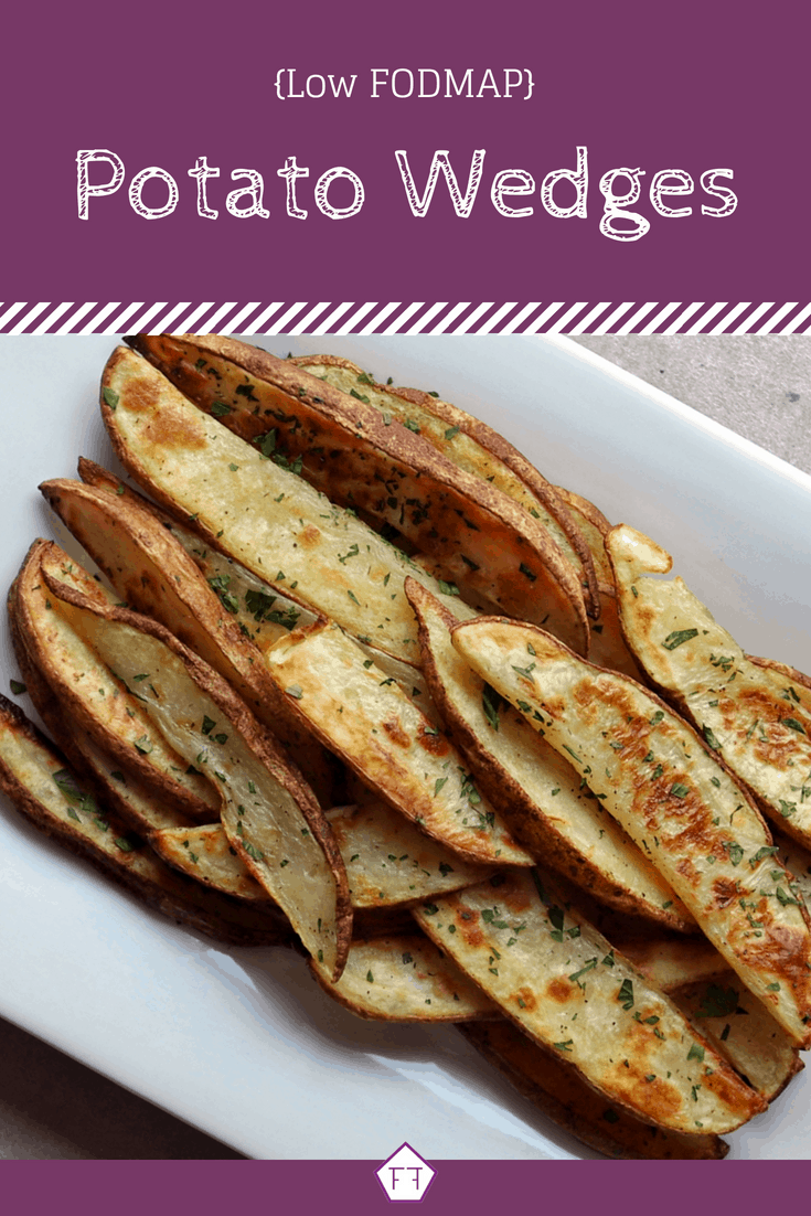 Low FODMAP Potato Wedges on plate with text overlay