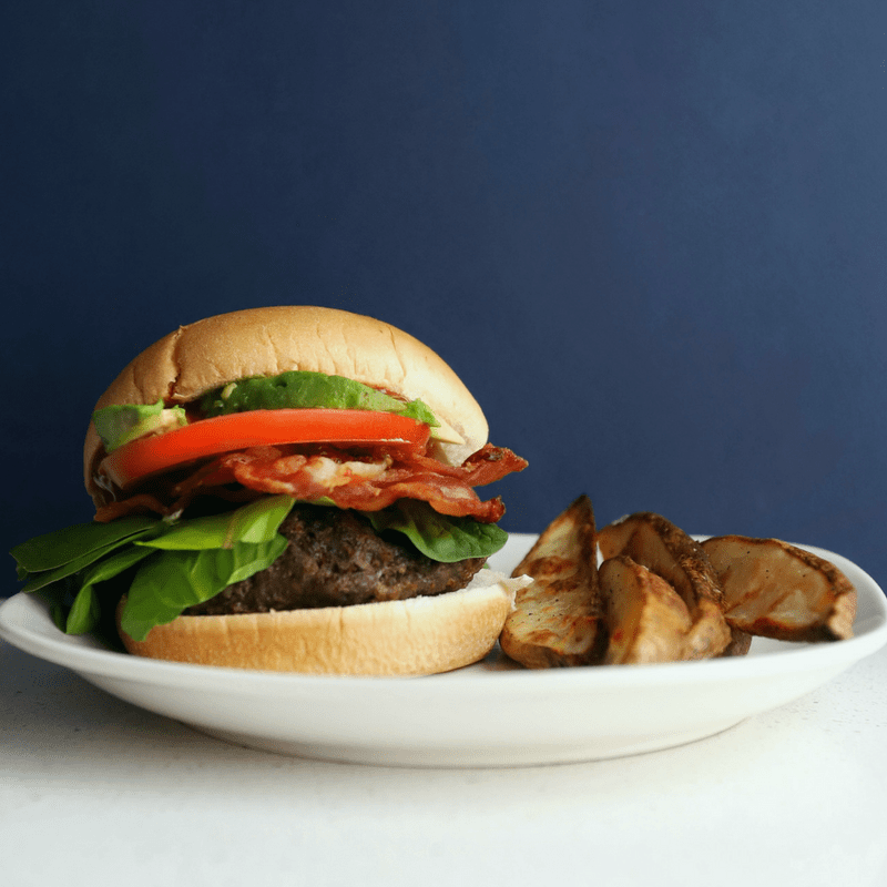 Low FODMAP Hamburgers with low FODMAP potato wedges