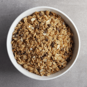 Low FODMAP Stovetop Granola in bowl