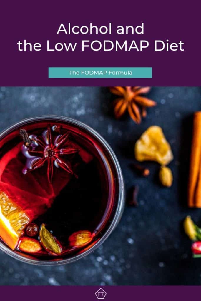 Muddled wine in glass mug with text overlay: Alcohol and the low FODMAP diet
