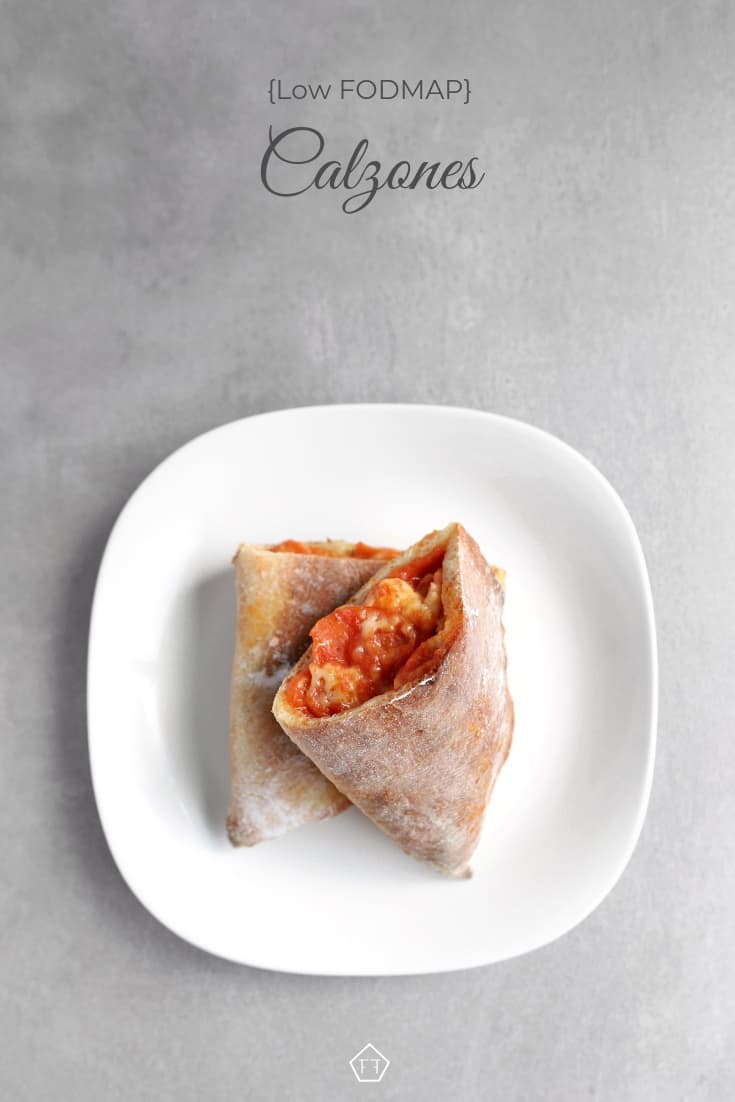 Low FODMAP calzone with melted cheese on plate - Pinterest 4