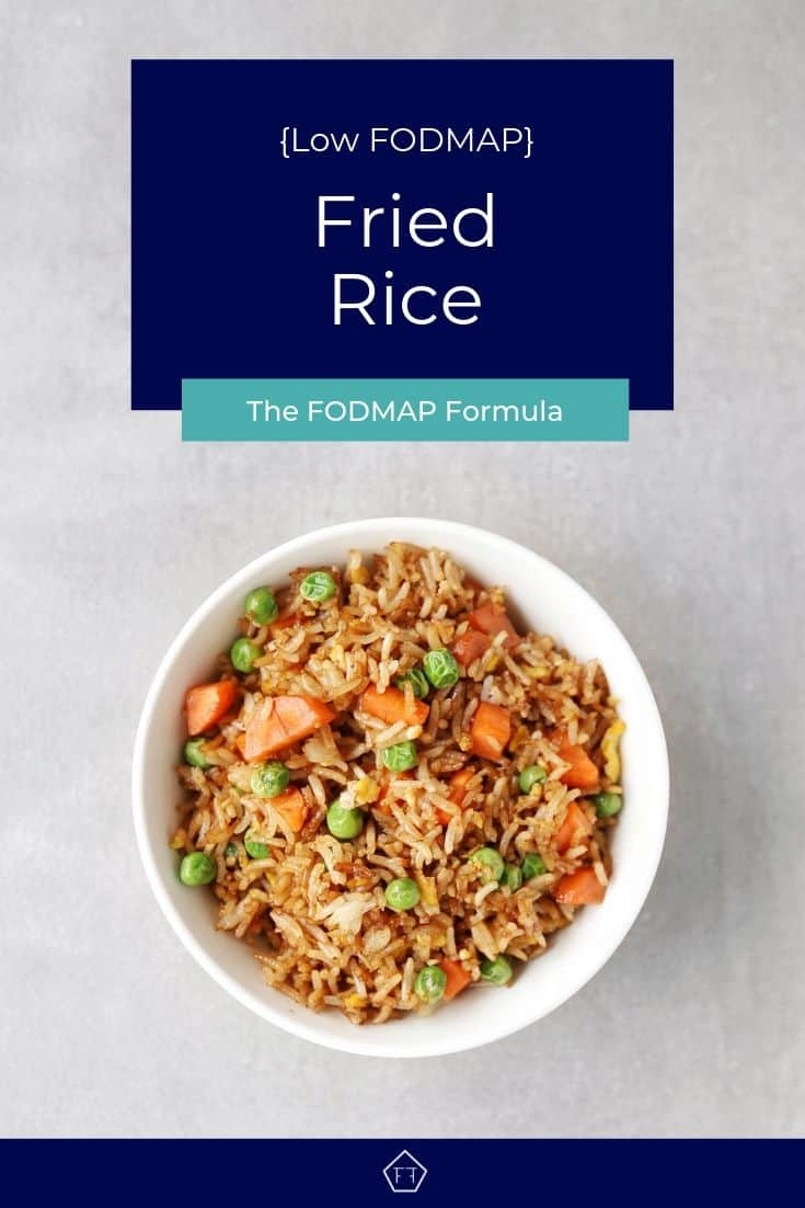 Low FODMAP fried rice with peas and carrots in bowl - Pinterest 2