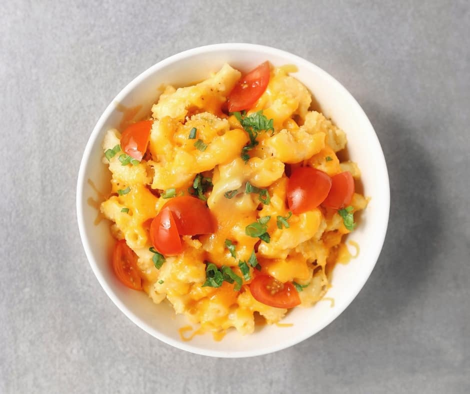 Low FODMAP macaroni and cheese in small bowl - 940 x 788