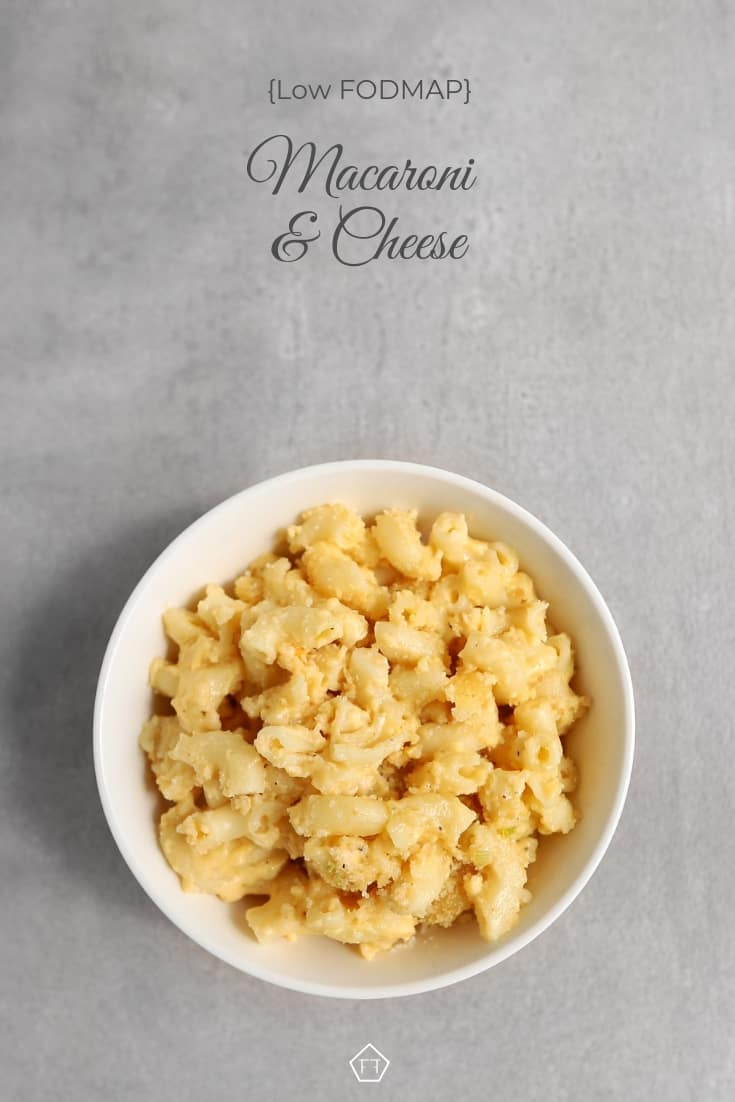 Low FODMAP macaroni and cheese in small bowl - Pinterest 8