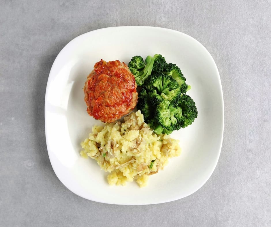 Low FODMAP mini meatloaves on plate with vegetables - 940 x 788