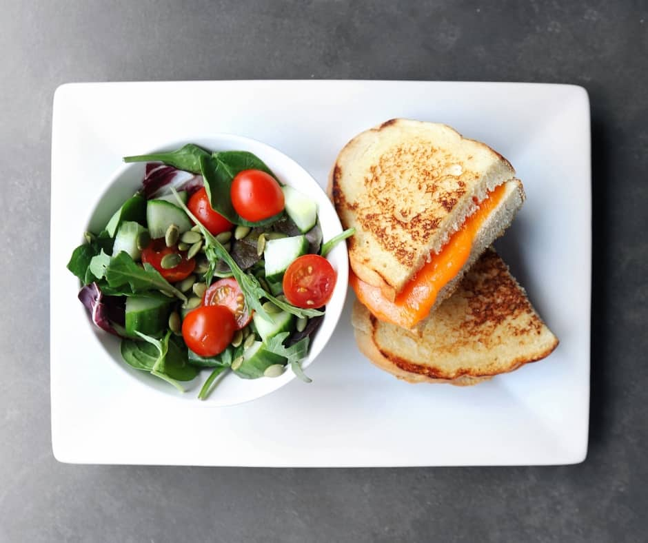 Low FODMAP Grilled Cheese with Side Salad - 940 x 788