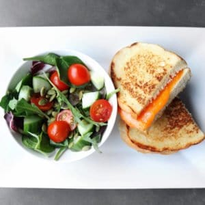 Low FODMAP Grilled Cheese with Side Salad - 800 x 800