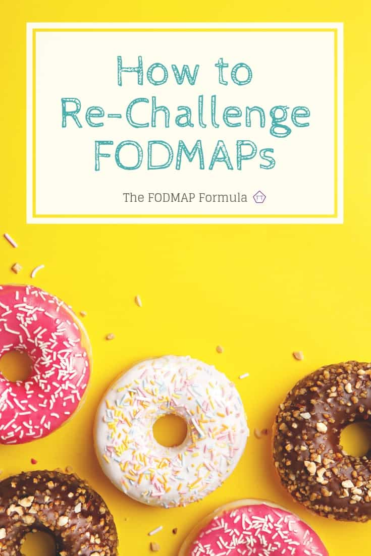 Doughnuts on yellow background with text overlay: How to Re-Challenge FODMAPs