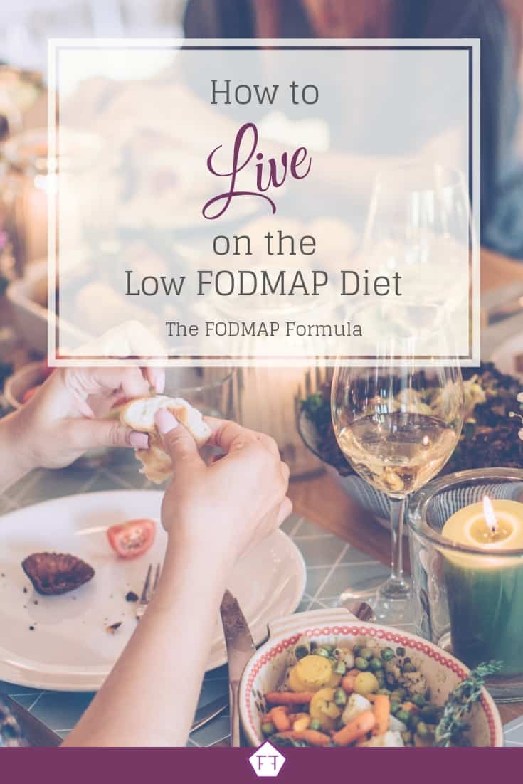 Dinner party with text overlay: How to live on the Low FODMAP Diet