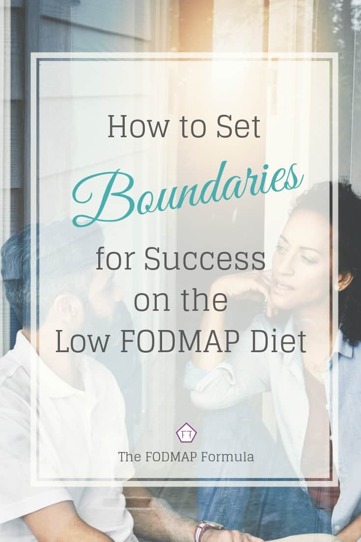 Two people speaking with text overlay: How to Set Boundaries for Success on the Low FODMAP Diet