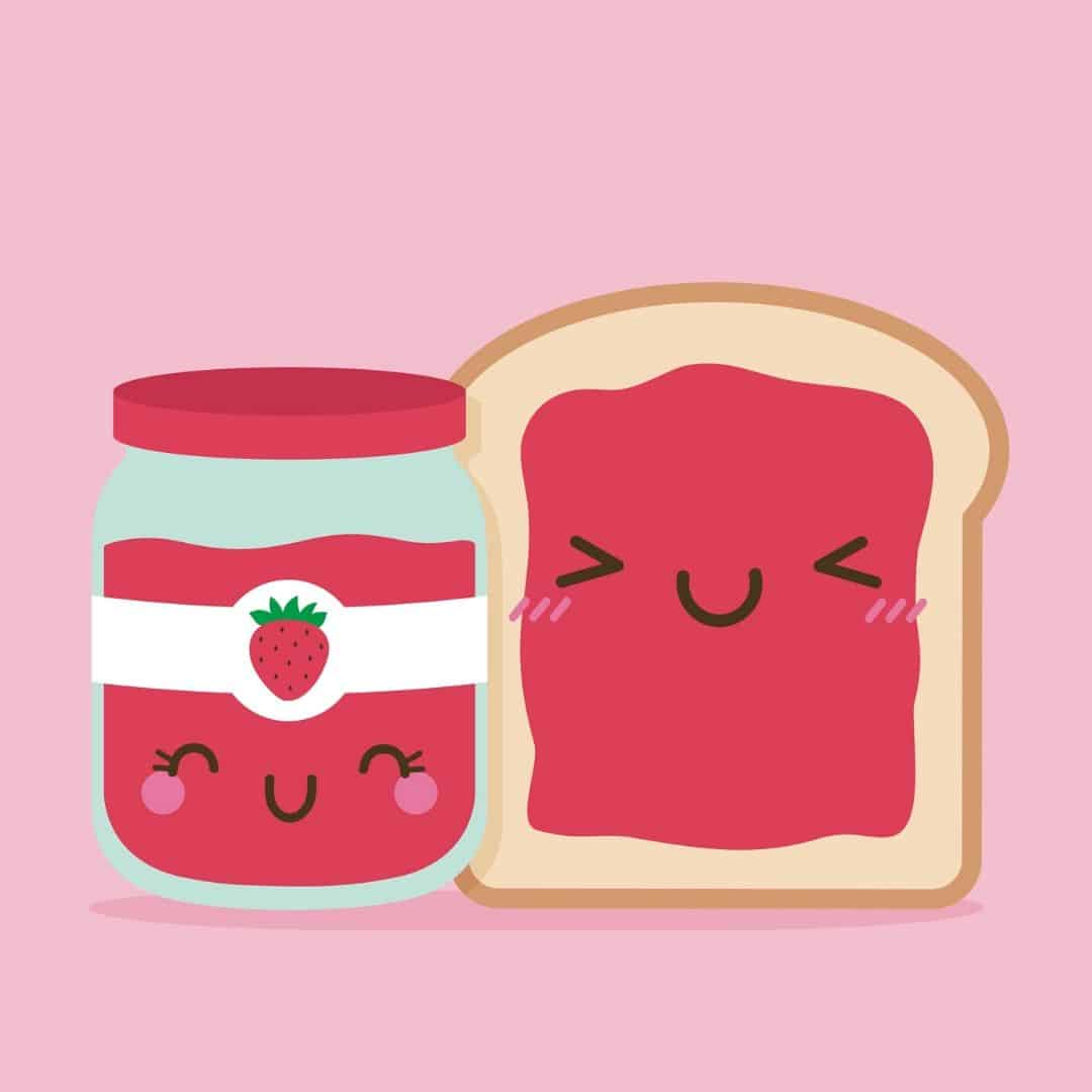 Illustration of jar of jam and bread smiling
