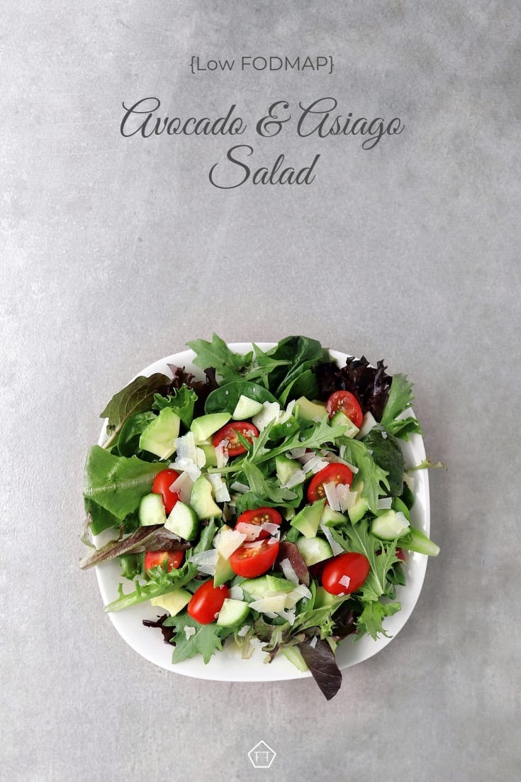 Low FODMAP Avocado and Asiago Salad - Pinterest 1