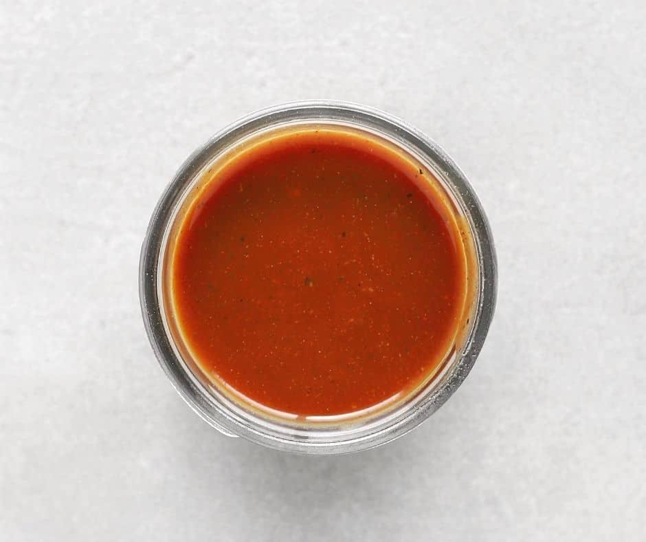 Low FODMAP BBQ sauce in small mason jar