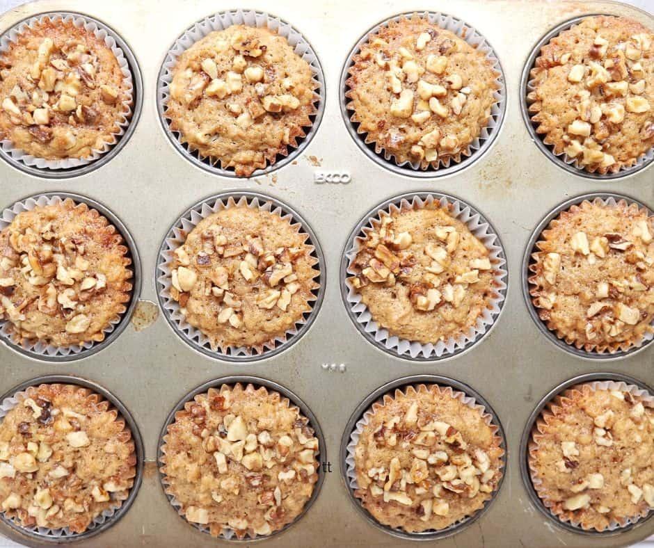 Low FODMAP Banana Walnut Muffins in silver muffin tray