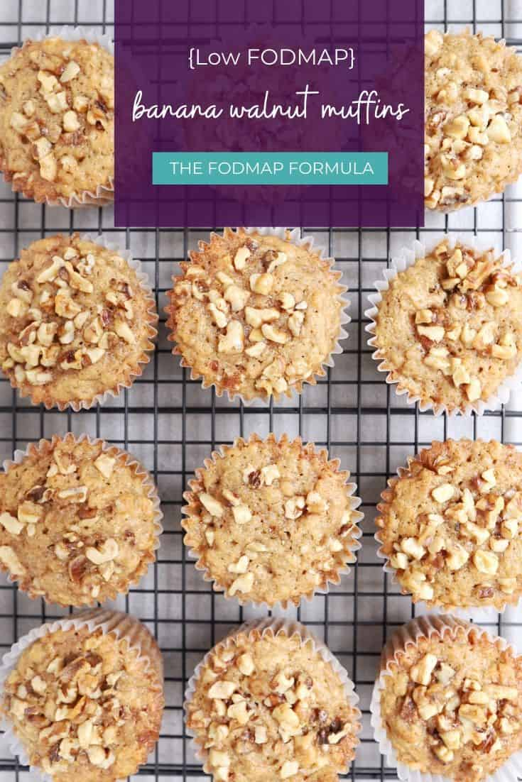 Low FODMAP Banana Walnut Muffins on wire rack