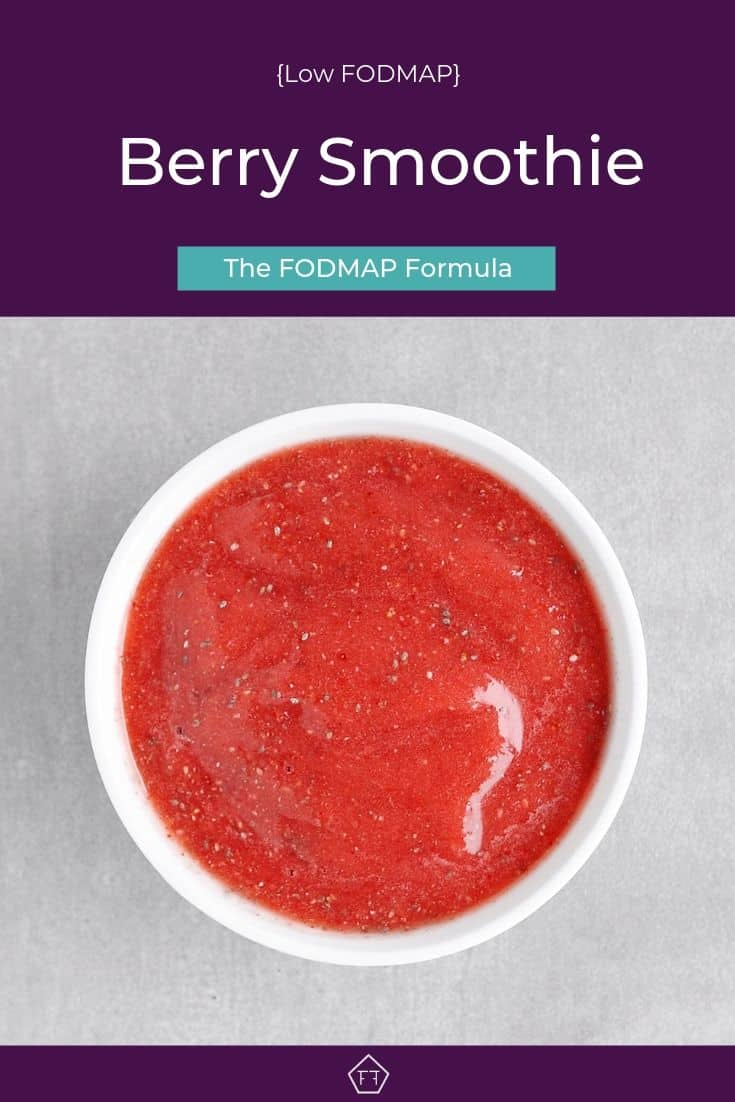 Low FODMAP Berry Smoothie in bowl - Pinterest 1