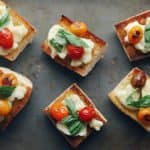 Low FODMAP Blistered Caprese Bites on Tray