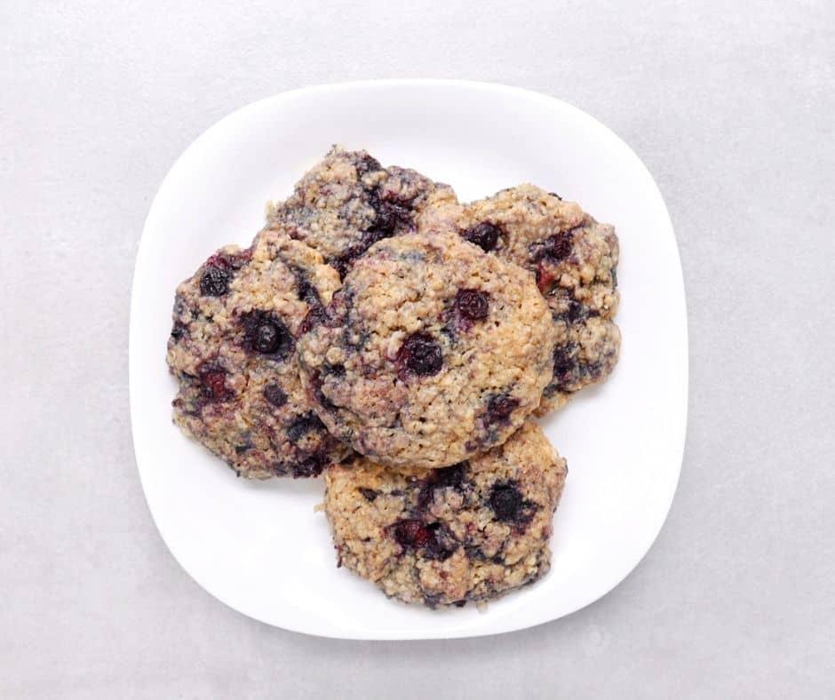 Low FODMAP Blueberry Breakfast Cookies on white plate
