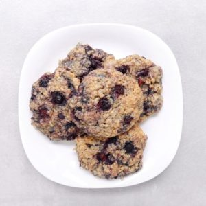 Low FODMAP Blueberry Breakfast Cookies on white plate
