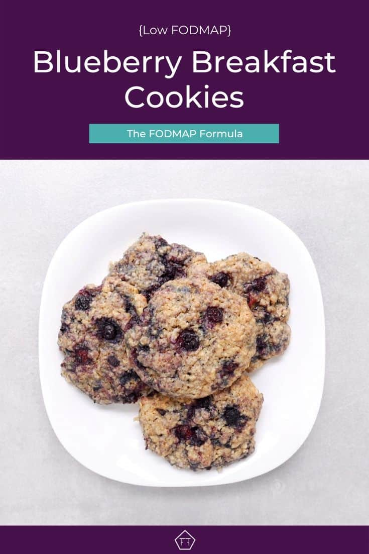 Blueberry breakfast cookies on white plate with text overlay: Low FODMAP Blueberry Breakfast Cookies