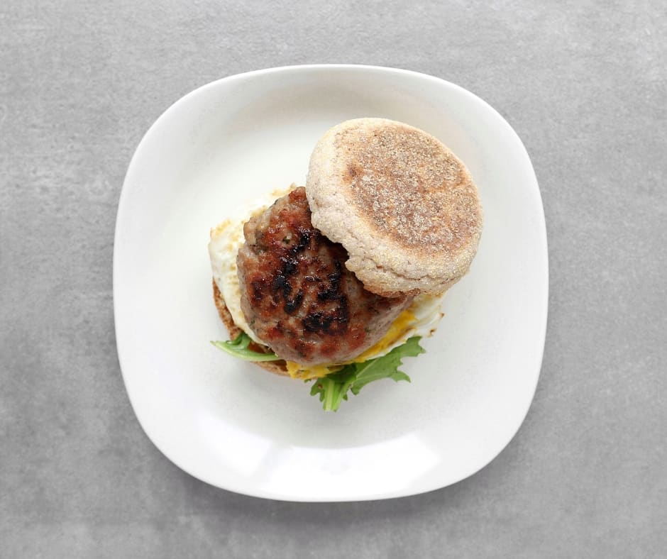 Low FODMAP Breakfast Sausage Sandwich on Plate - Facebook Post