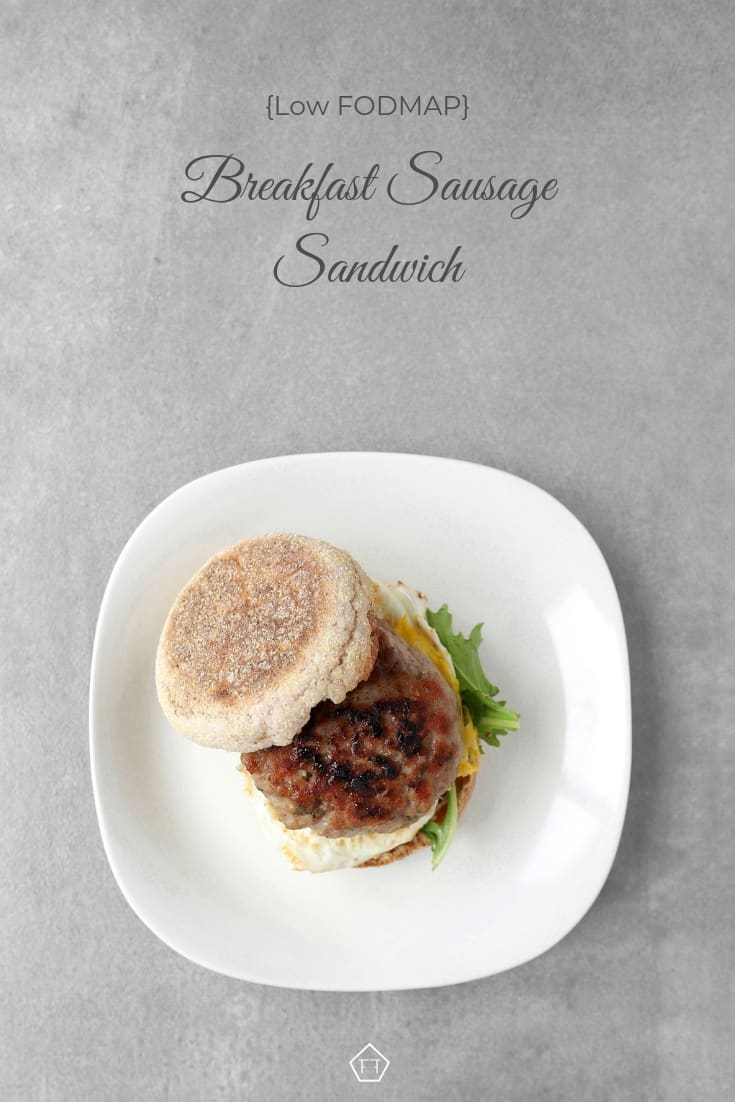 Low FODMAP Breakfast Sausage Sandwich on Plate - Pinterest 1