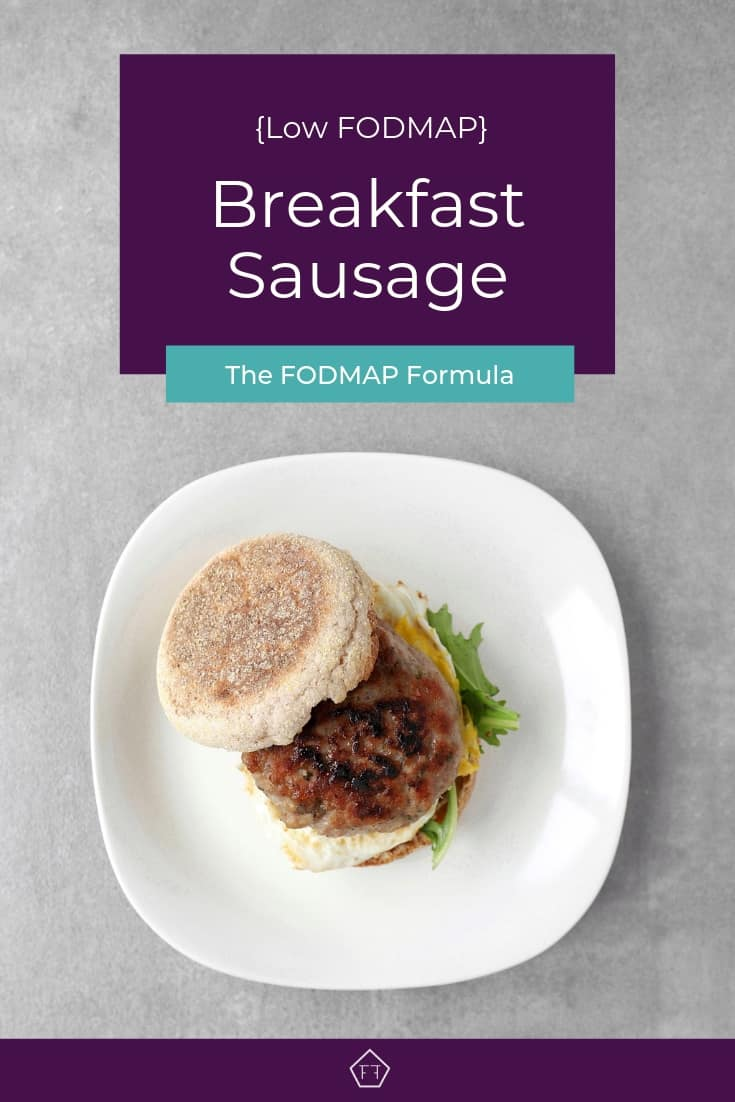 Low FODMAP Breakfast Sausage Sandwich on Plate - Pinterest 2