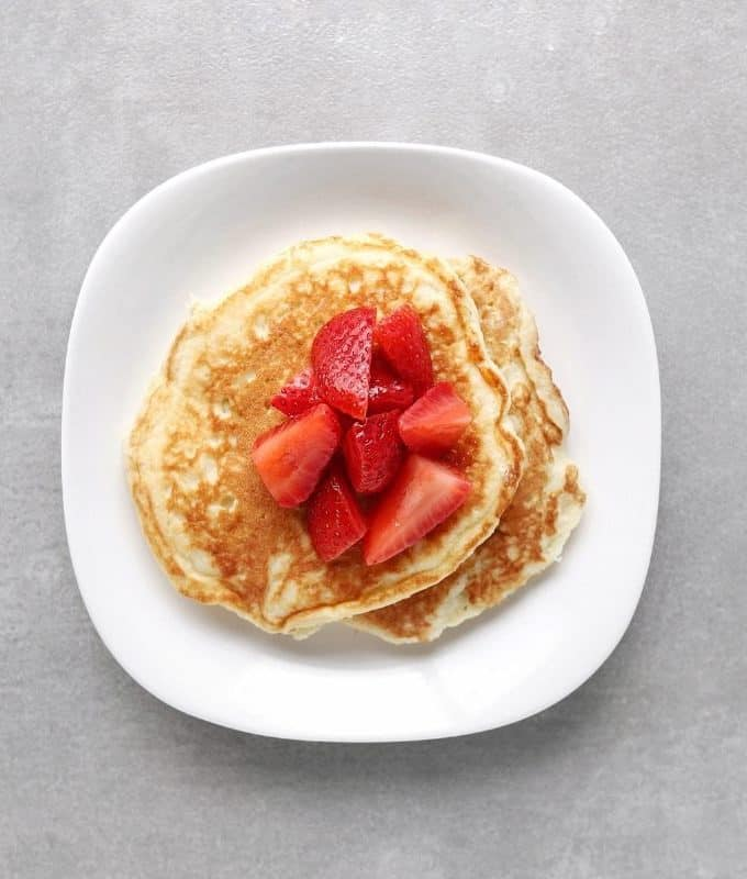 Low FODMAP buttermilk pancakes with macerated strawberries - Feature Image