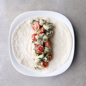 Low FODMAP Chicken Caesar Wrap on plate - 800 x 800