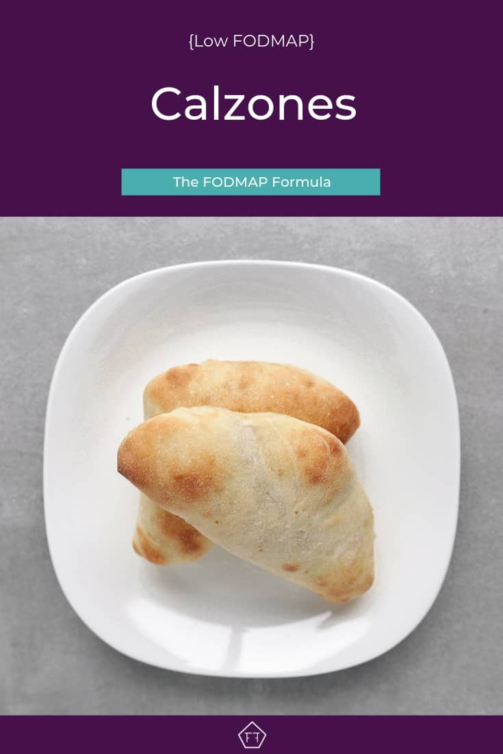 Low FODMAP calzone on plate - Pinterest 2